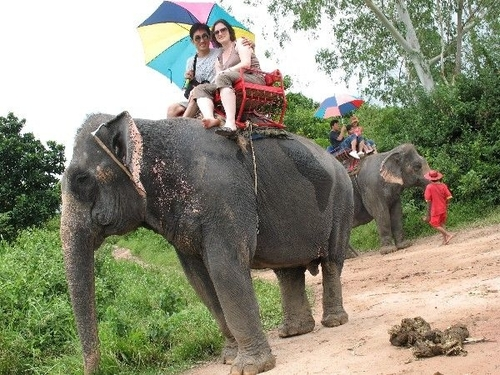 Karen and BJ riding an elephant