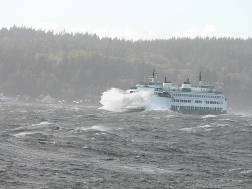 Windy ferry ride